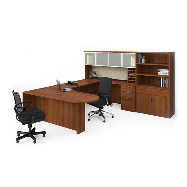 388 - Bullet Top Workstation with Stacking Bookcase