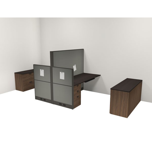 Layout 14 - Wall mounted linear cubicles